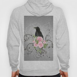 Wonderful crow with flowers Hoody