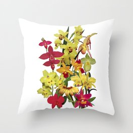 Orchids - Hot Colors! On white Throw Pillow