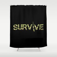 army Shower Curtains featuring Survive (Army) by eARTh