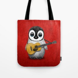 Musical Baby Penguin Playing Acoustic Guitar on Deep Red Tote Bag