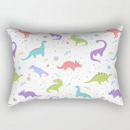 Space Dinosaurs on White Rectangular Pillow