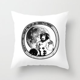Space Monkeys Black & White Throw Pillow