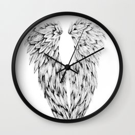 Black and White Angel Wings Wall Clock