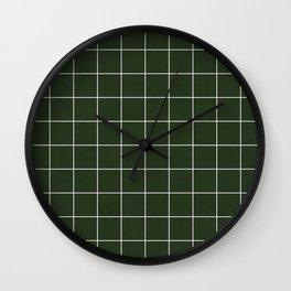 Small Grid Pattern - Deep Green Wall Clock