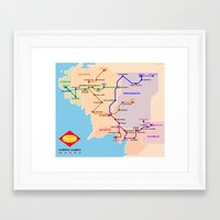 middle earth Framed Art Prints featuring Middle-Earth metro map by tuditees