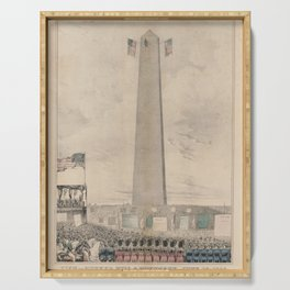 Vintage Bunker Hill Monument Inauguration Illustration Serving Tray