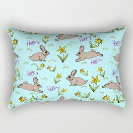 Hoppy Happy Sweet Spring Bunny Floral Design Rectangular Pillow