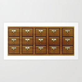 Library Card Catalog Art Print