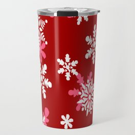 Red Heart Of Snowflakes Loving Winter and Snow Travel Mug