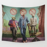 stanley kubrick Wall Tapestries featuring The Three Distinguished Members of the Committee to Handle the Squirrel Problem by Peter Gross