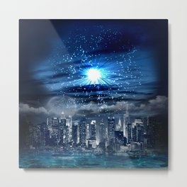City of Blue Metal Print