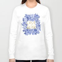 gold Long Sleeve T-shirts featuring That's Life – Gold & Blue by Cat Coquillette