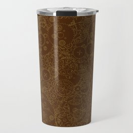 Clockwork Retro / Cogs and clockwork parts lineart pattern in brown and gold Travel Mug