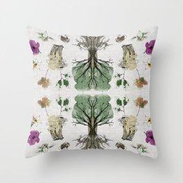 Tree Circle of Life Botanical Watercolor Throw Pillow