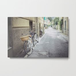 white bicycle with a basket   Metal Print