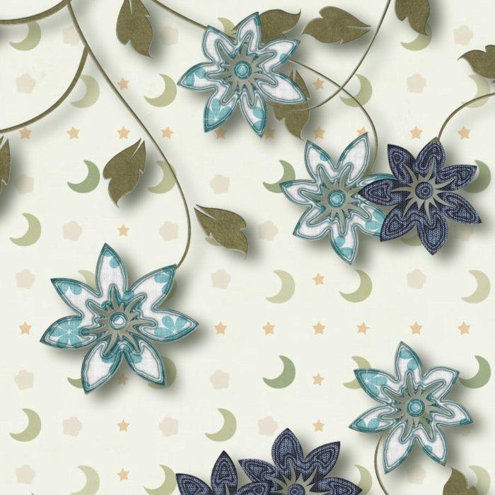Blue Paper Flowers Leggings