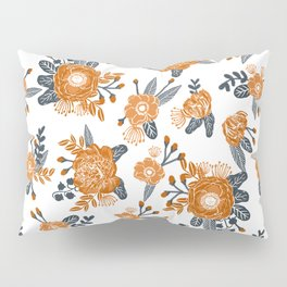 Texas orange and white university texans longhorns college football sports florals Pillow Sham