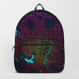 Calgary City Map of Canada - Neon Backpack