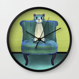 Elegant Cat green Wall Clock