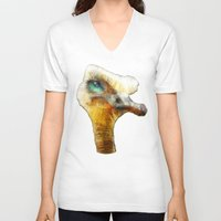 ostrich V-neck T-shirts featuring abstract ostrich by Ancello