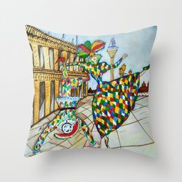 Arlecchino and Colombina. Carnival of Venice. Throw Pillow