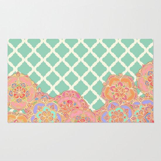 Floral Doodle on Mint Moroccan Lattice Rug