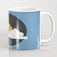 records Mugs featuring Sunburst Records by Dianne Delahunty