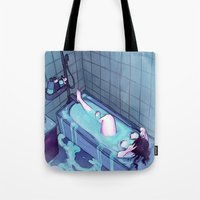 bath Tote Bags featuring Bath  by BrimRun