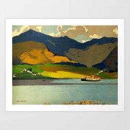 Loch Awe Vintage Mid Century Art Travel Poster British Railways Colorful Landscape Art Print