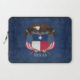 Texas flag and eagle crest, Vintage original design by BruceStanfieldArtist Laptop Sleeve