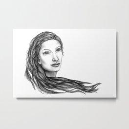 Flow (BW) - Woman Sketch Metal Print