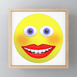 Smiley Female With Big Smiling Mouth Framed Mini Art Print