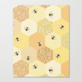 Patchwork Bees Pattern Canvas Print