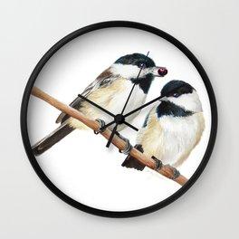 Black Capped Chickadees Wall Clock