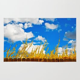clouds+blue+yellow+fence Rug