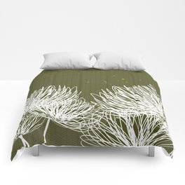 Olive Doodle Floral by Friztin Comforters