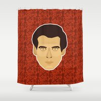 james bond Shower Curtains featuring James Bond - Goldeneye by Kuki