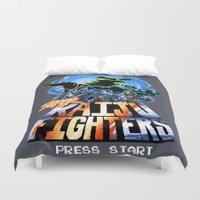 kaiju Duvet Covers featuring Super Kaiju Fighters by tweedler92