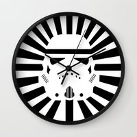 storm trooper Wall Clocks featuring Storm Trooper by RobotSpaceBrain