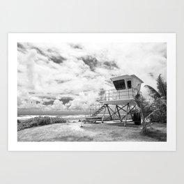 Lifeguard tower in Kauai, Hawaii Art Print