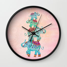 LUCKY ELEPHANTS Wall Clock