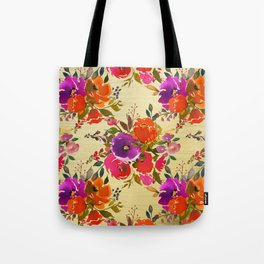 Vibrant Purple and Orange Flower Bouquets on Gold  Tote Bag