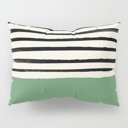 Moss Green x Stripes Pillow Sham