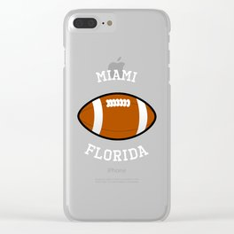 Miami American Football Design white font Clear iPhone Case