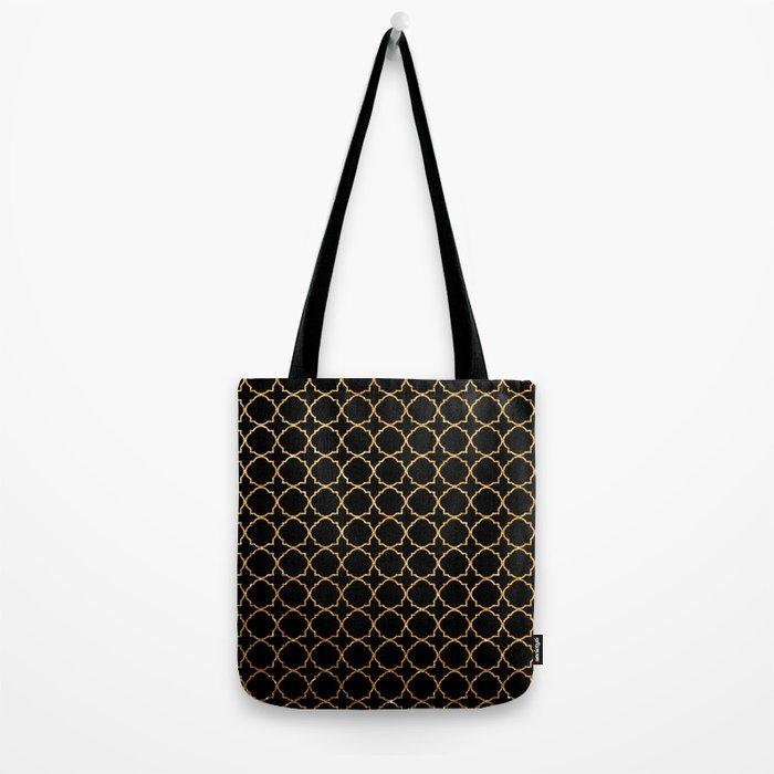 Elegant black faux gold glitter chic quatrefoil vector illustration Tote Bag