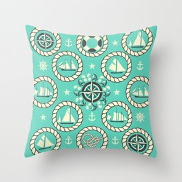 Blue Nautical Print with ships, compass, anchor and nautical knots Throw Pillow