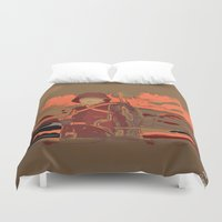soldier Duvet Covers featuring Soldier ( drawing) by Ganech joe