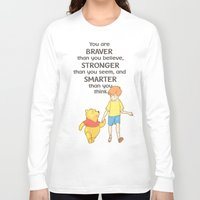 winnie the pooh Long Sleeve T-shirts featuring WINNIE THE POOH by DisPrints