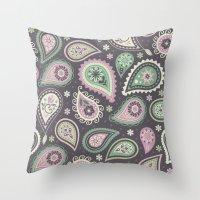 Soft romatic paisleys Throw Pillow