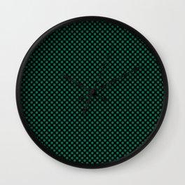 Black and Lush Meadow Polka Dots Wall Clock
